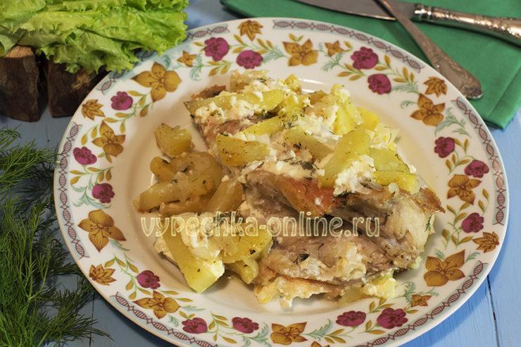 Морской окунь с картошкой в духовке