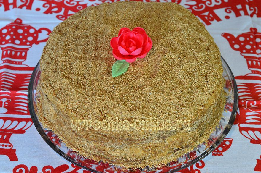 Медовый торт с кремом пошаговый рецепт с