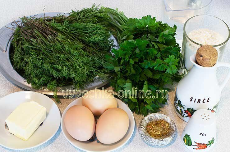 Тонкие лепешки с зеленью и яйцами