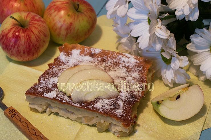 Шарлотка с яблоками на кефире в духовке пошаговый рецепт