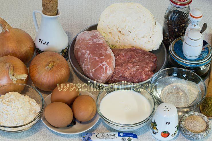 Кулебяка с мясом Ингредиенты