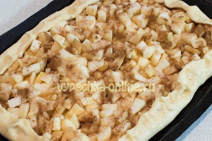 открытый пирог с яблоками рецепт