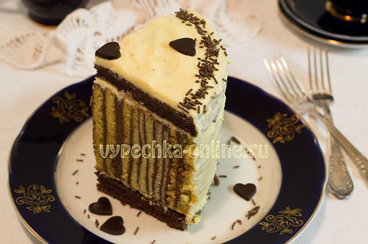 Полосатый торт рецепт с фото