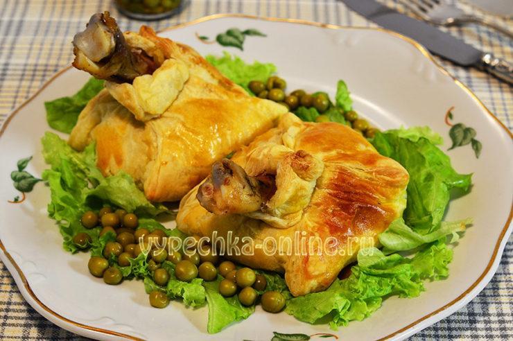 Куриные ножки в слоеном тесте с картошкой