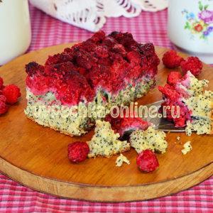 Бездрожжевой пирог с малиной