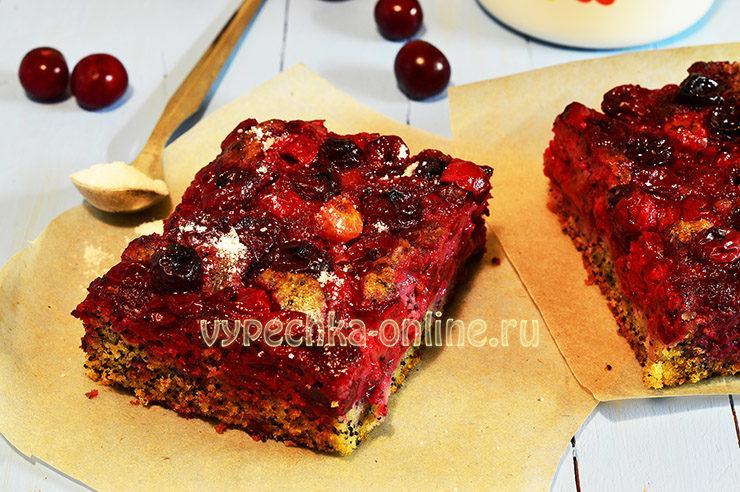 Бездрожжевой пирог с вишней и маком