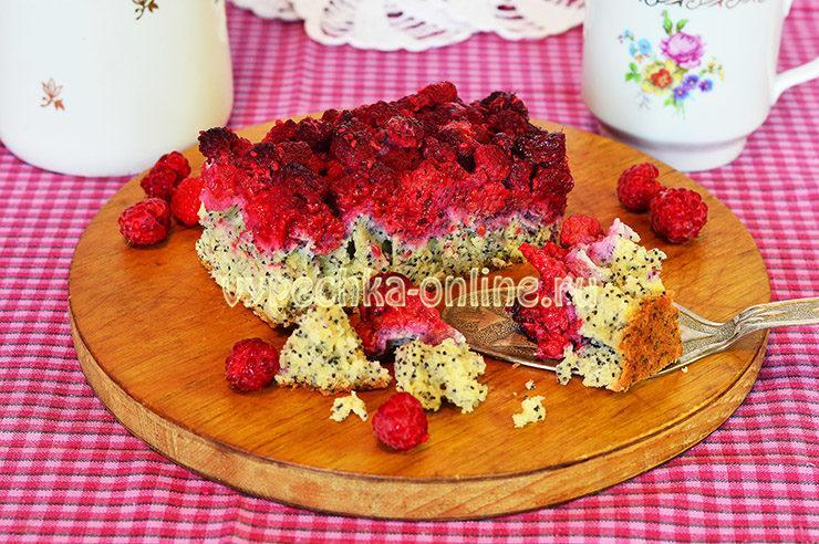 Пирог с малиной на скорую руку
