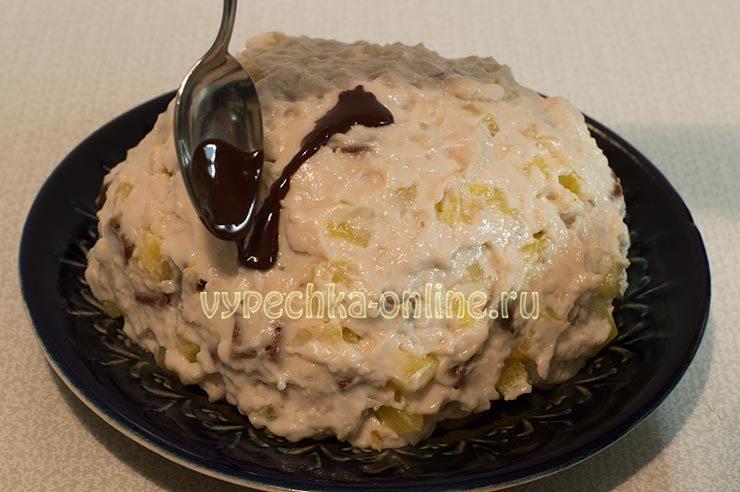 Торт Панчо с консервированными ананасами постный