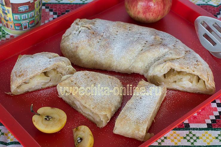 Штрудель яблочный из слоеного теста пошаговый рецепт с фото