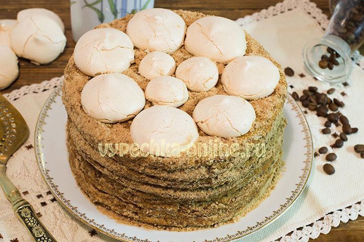 торт на сгущенке на сковороде с заварным кремом