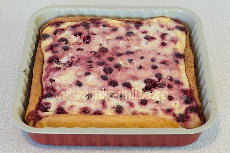пирог с творогом и вишней из дрожжевого теста рецепт с фото