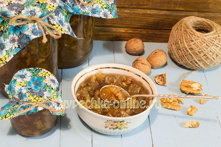 Варенье из кабачков с орехами и лимоном