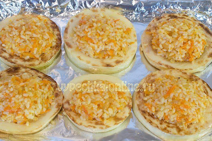 кабачки фаршированные рисом и овощами запеченные в духовке