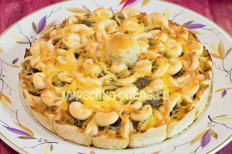 Пирог хризантема с мясом