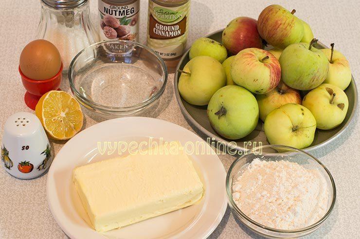 американский пирог с яблоками и корицей