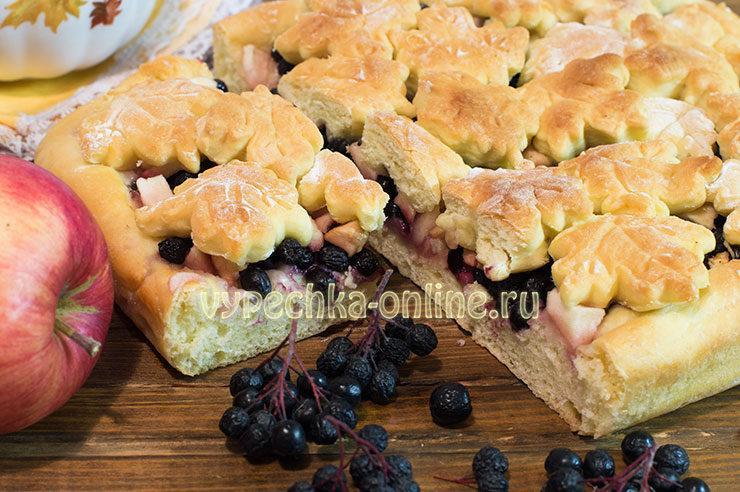 Пирог с черной рябиной и яблоками