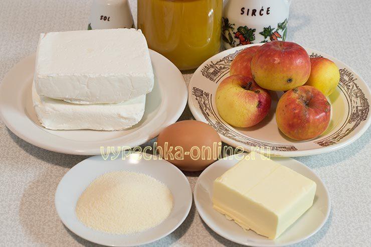 Творожная запеканка с яблоками и манкой в духовке пошаговый рецепт с фото