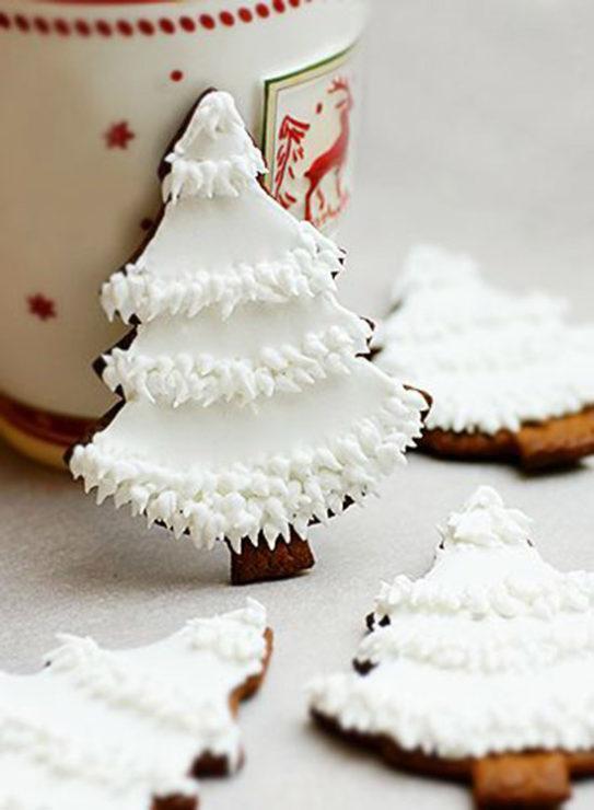 Печенье ёлочки с белой глазурью