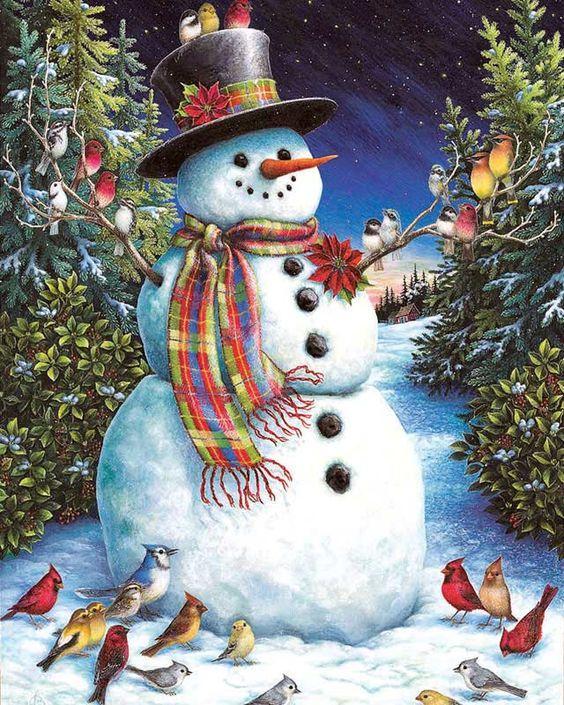 Снеговик, птицы