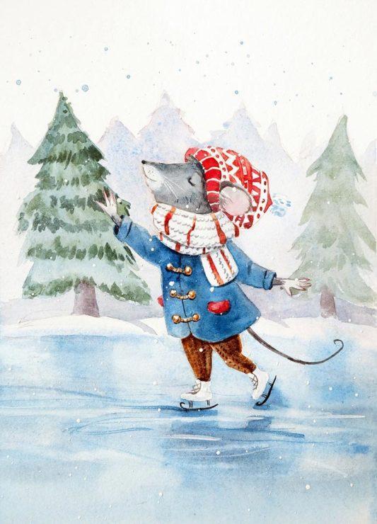 Мышка на коньках