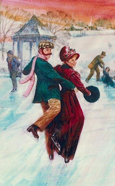 Влюблённая пара на коньках