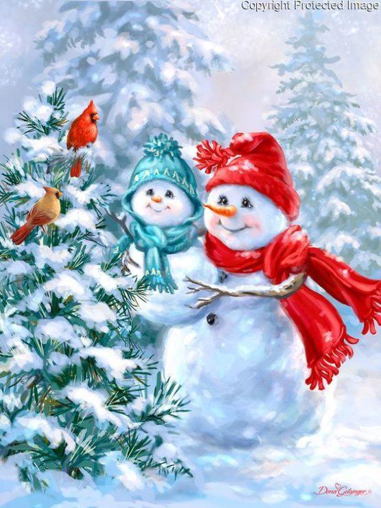 Снеговики мама и ребёнок