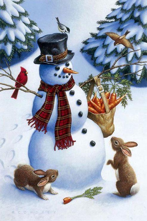Снеговик, зайчата