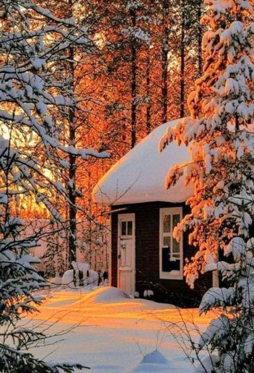 Зима, домик, сугробы