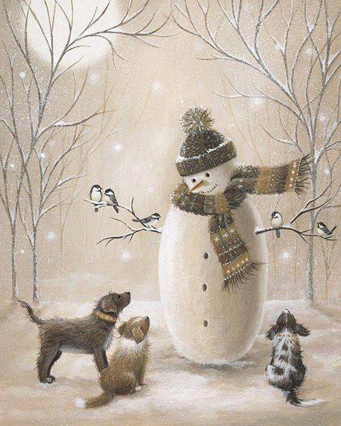 Снеговик, собачки