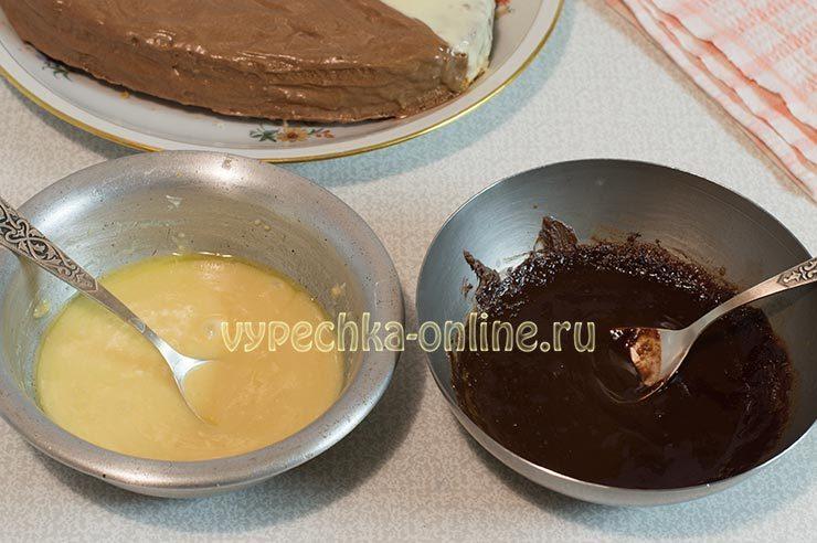Приготовление глазури белой и шоколадной