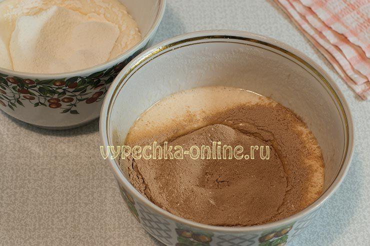 Белый и шоколадный бисквит