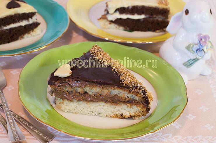 Двухцветный бисквит с масляным кремом и глазурью