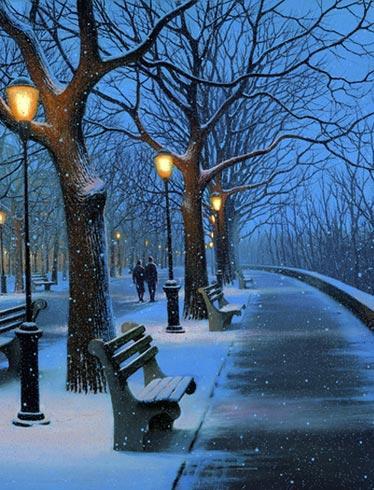 Вечерняя прогулка зимой