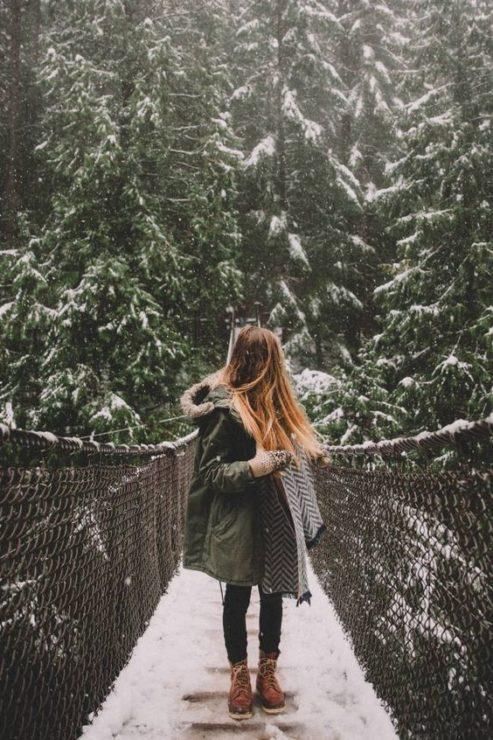 Девушка, мост, зима, лес