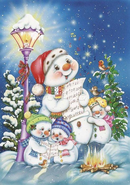 Снеговики, фонарь