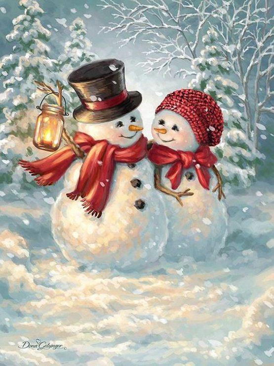 Влюблённые снеговики