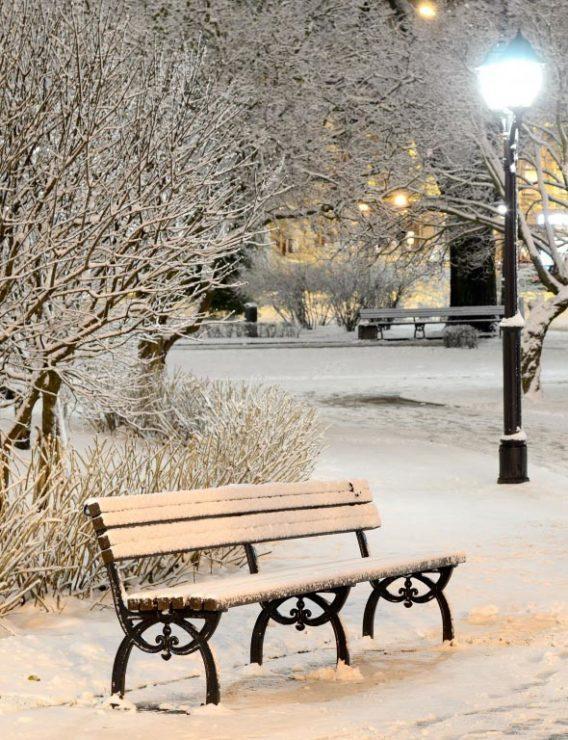 Скамейка, зима, вечер