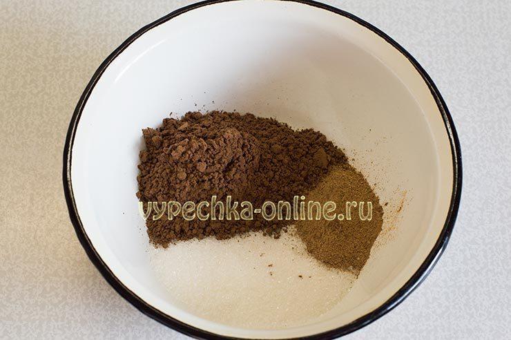 Корица, какао, сахар