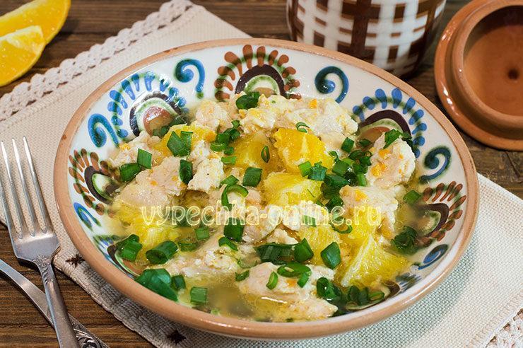 Курица с апельсинами в духовке рецепт с фото пошагово