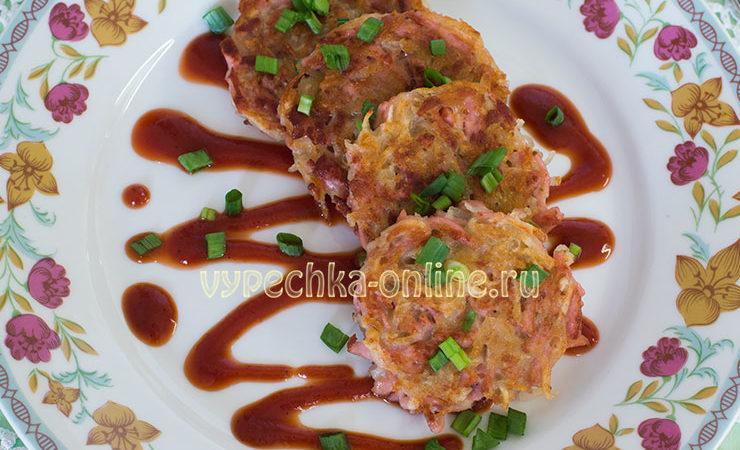 Картофельные драники с колбасой рецепт с фото пошагово на сковороде