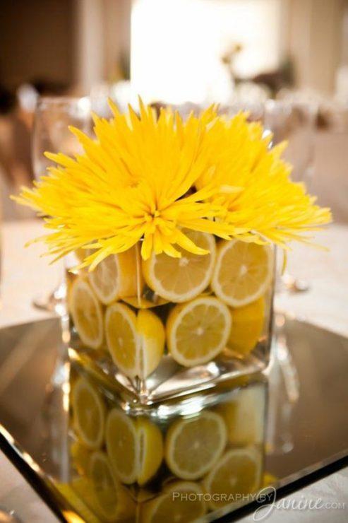 Хризантемы, лимоны