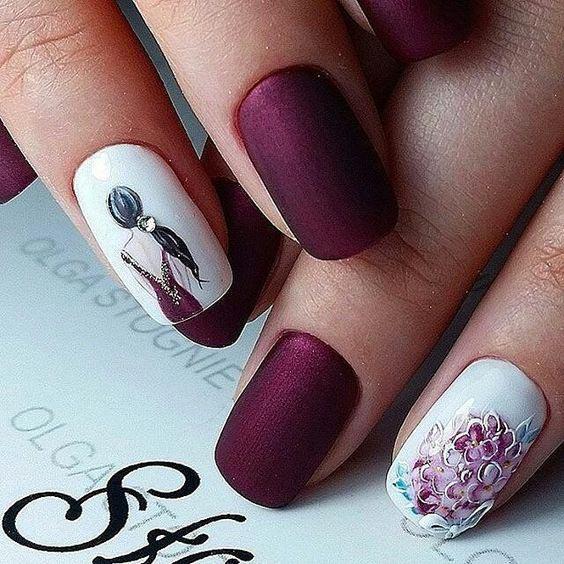 Ногти с рисунком девушки