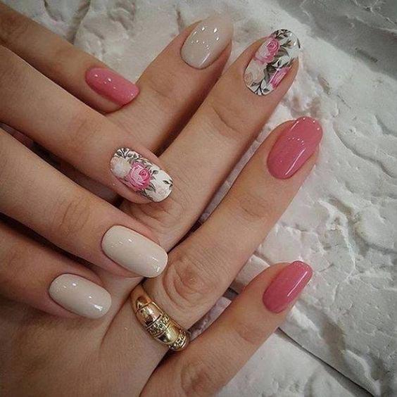 Ногти с розочками