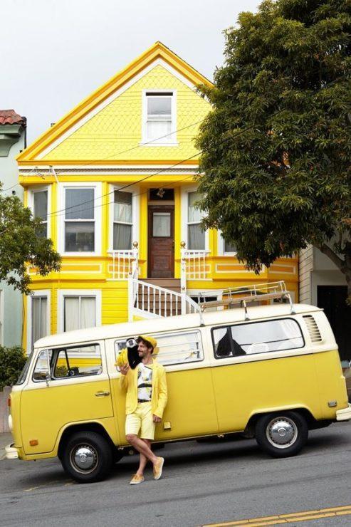 Дом, автобус, мужчина