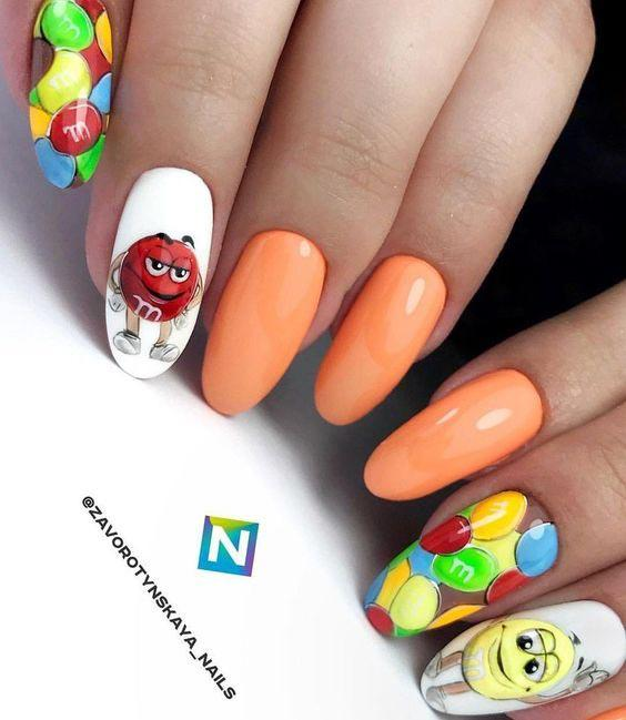 Яркие ногти маникюр весна