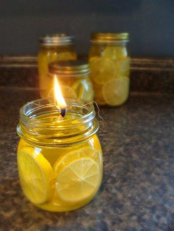 Самодельные свечи с лимоном