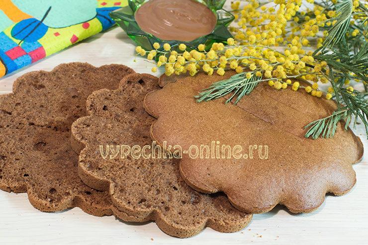 Шоколадный бисквит для торта пышный и простой в духовке на кипятке, рецепт с фото пошагово
