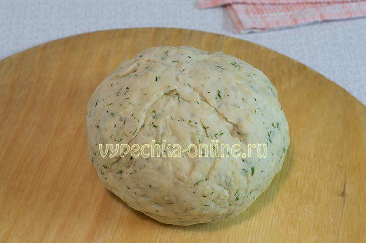 Творожное тесто на лепешки с зеленью