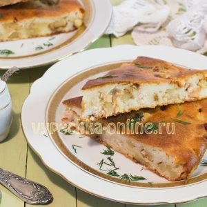 Заливной пирог на кефире с курицей и картошкой