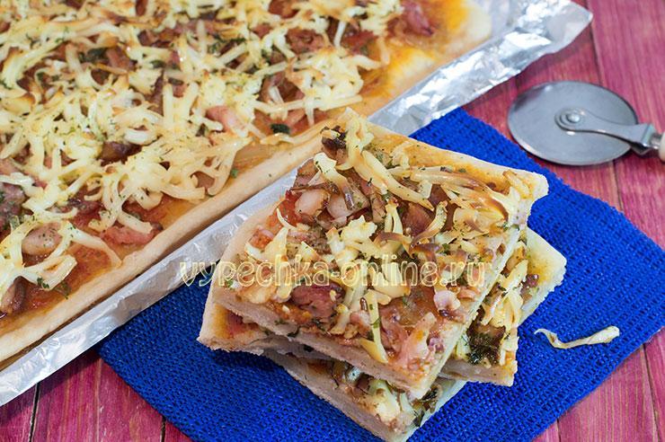 Пицца на дрожжевом тесте в духовке рецепт с фото